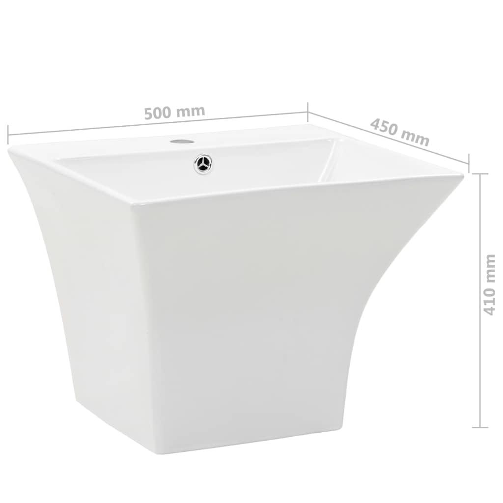 Chiuvetă ceramică suspendată pe perete, alb, 500x450x410 mm