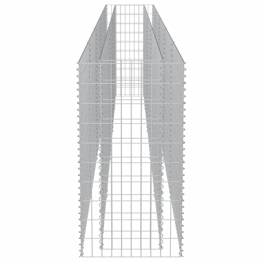 vidaXL Strat înălțat gabion, 450 x 50 x 100 cm, oțel galvanizat