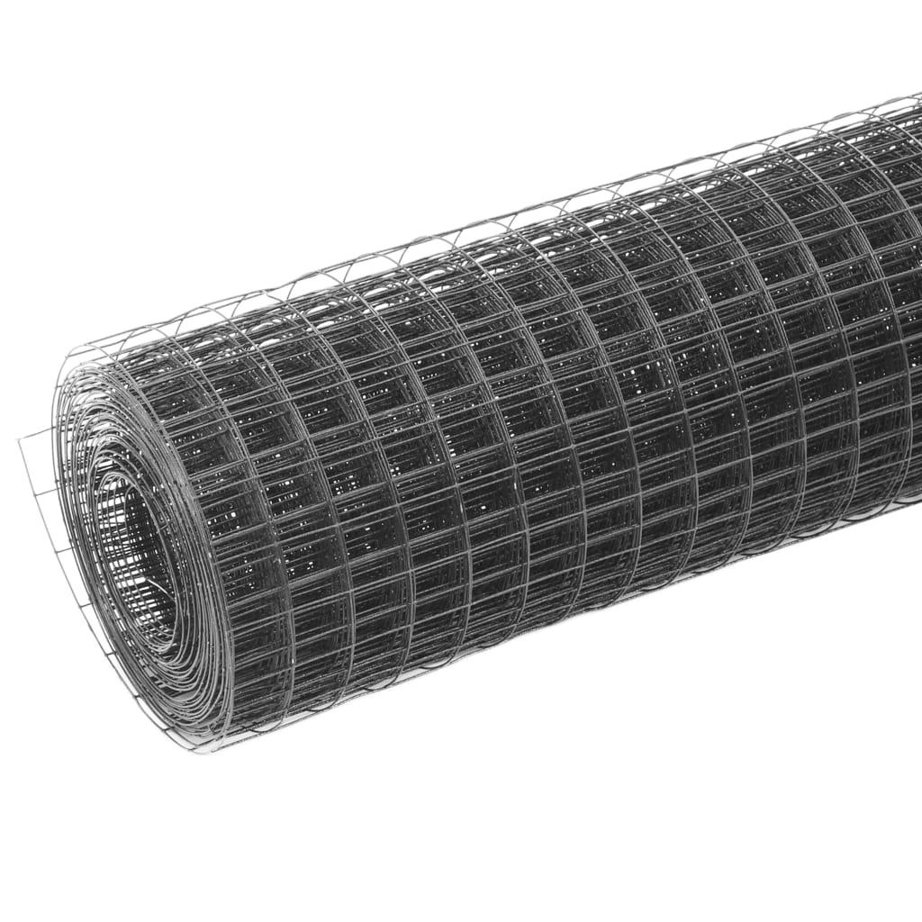 vidaXL Plasă de sârmă găini, gri, 10 x 1,5 m, oțel cu înveliș PVC