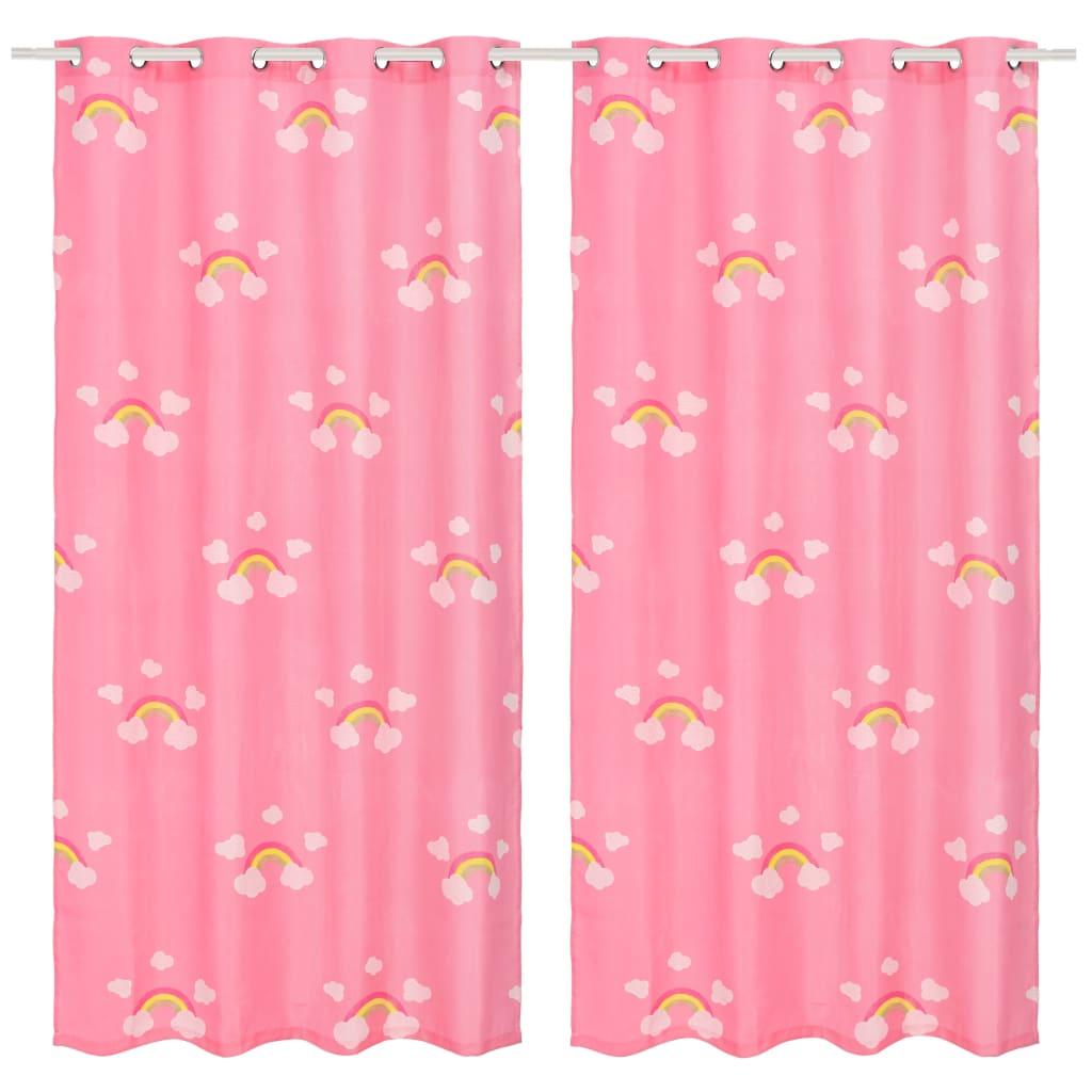 vidaXL Draperii opace copii, 2 buc., curcubeu, roz, 140 x 240 cm