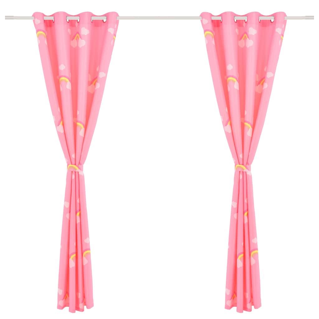 Draperii opace copii, 2 buc., curcubeu, roz, 140 x 240 cm