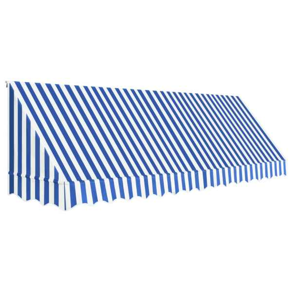 Copertină de bistro, albastru și alb, 400 x 120 cm