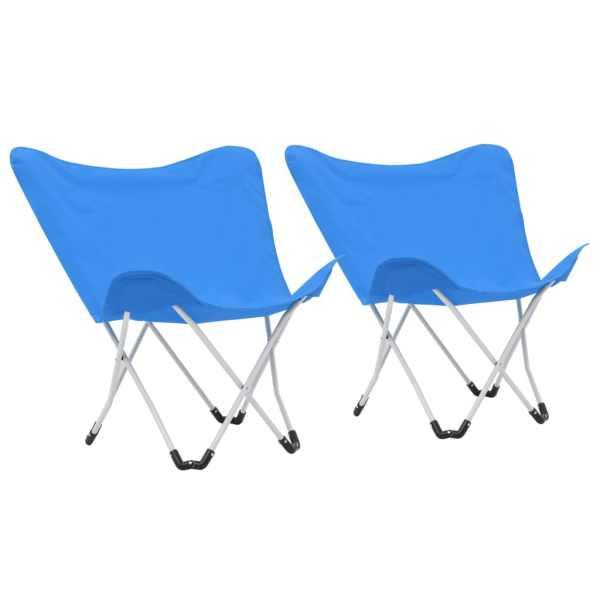 vidaXL Scaune de camping tip fluture, 2 buc., albastru, pliabil