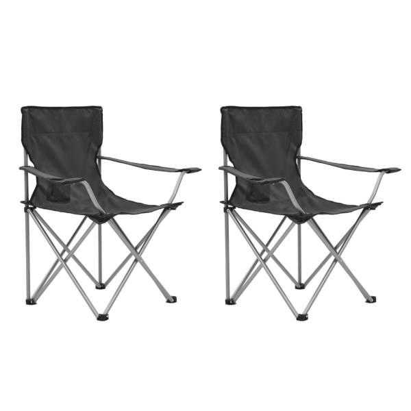vidaXL Set masă și scaune de camping, 3 piese, gri