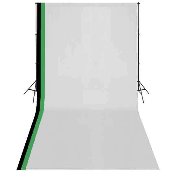 vidaXL Kit studio foto cu 3 fundaluri și ramă ajustabilă, 3 x 6 m