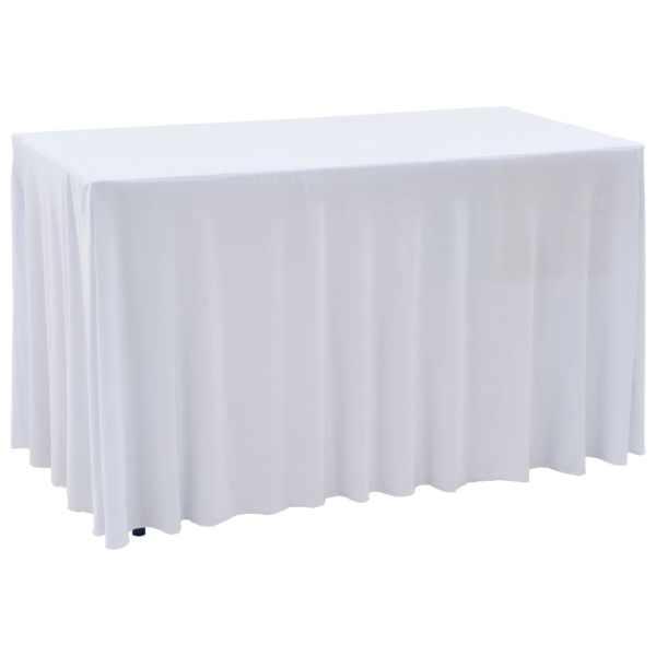 vidaXL Huse elastice de masă lungi, 2 buc., alb, 120 x 60,5 x 74 cm