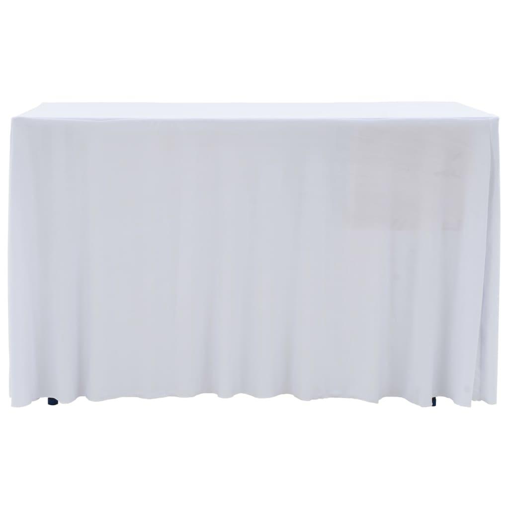 Huse elastice de masă lungi, 2 buc., alb, 120 x 60,5 x 74 cm