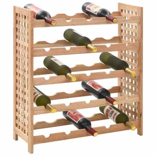 vidaXL Stativ vinuri pentru 25 de sticle 63x25x73cm lemn masiv nuc