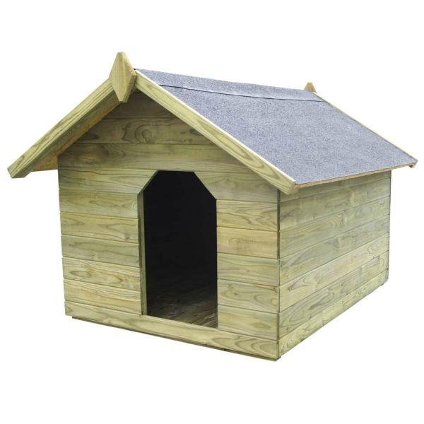 vidaXL Cușcă câine de grădină, acoperiș detașabil, lemn de pin tratat