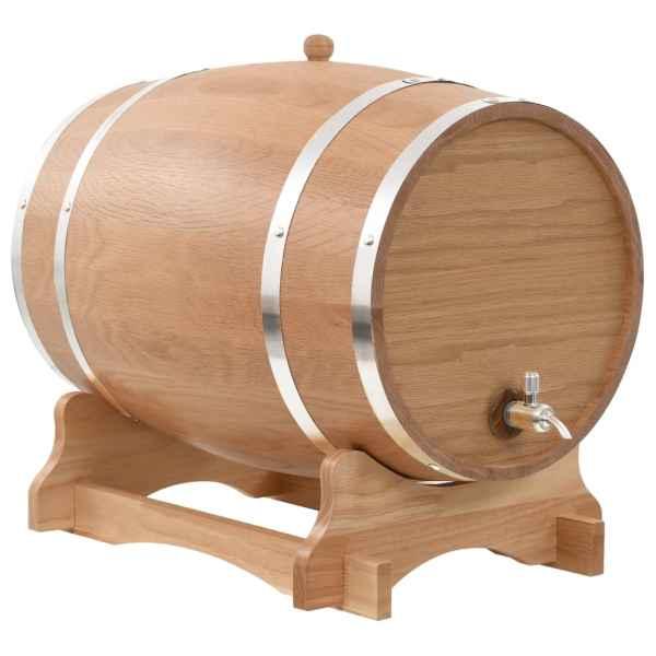 vidaXL Butoi de vin cu canea, stejar masiv, 35 L