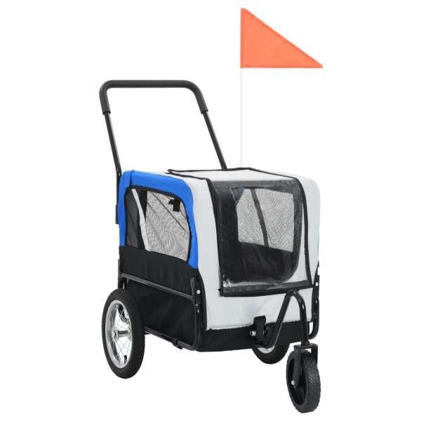 vidaXL Remorcă bicicletă & cărucior jogging animale, gri și albastru