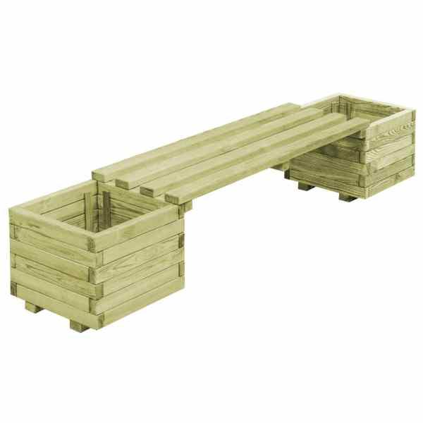 vidaXL Bancă de grădină cu jardiniere, lemn de pin tratat