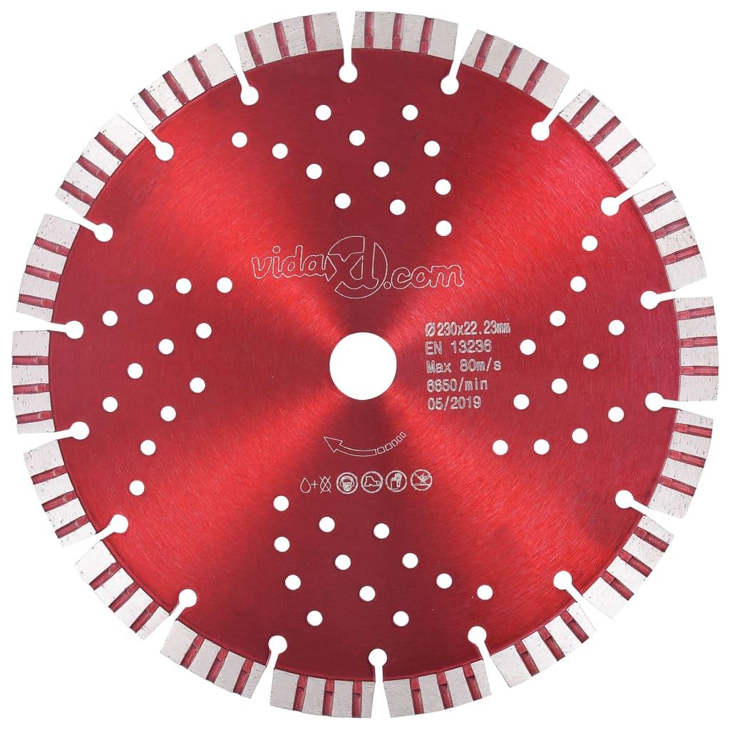 vidaXL Disc diamantat de tăiere cu segmente turbo și găuri oțel 230 mm