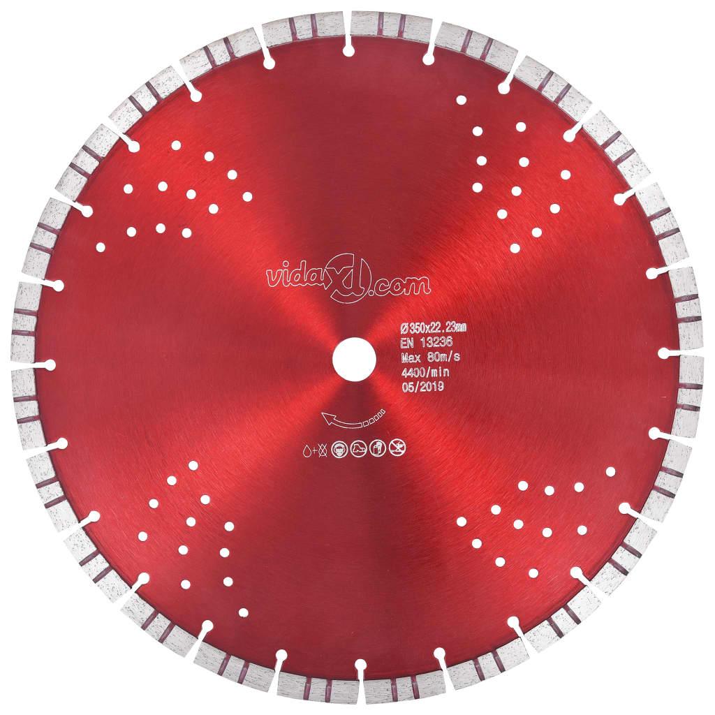 vidaXL Disc diamantat de tăiere cu segmente turbo și găuri oțel 350 mm