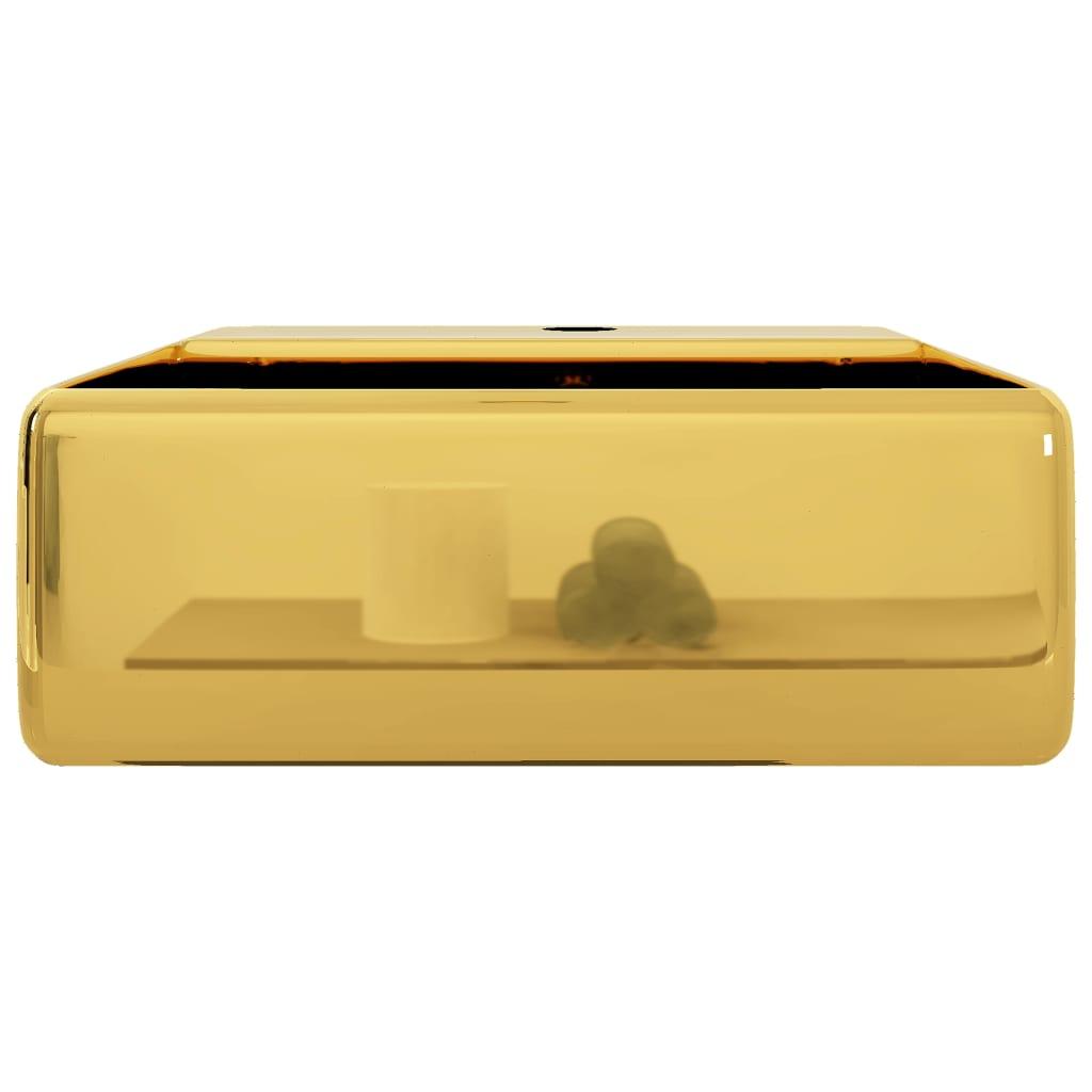 Chiuvetă cu preaplin, auriu, 41 x 41 x 15 cm, ceramică