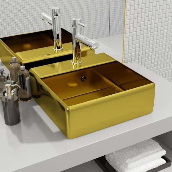 vidaXL Chiuvetă cu preaplin, auriu, 41 x 41 x 15 cm, ceramică