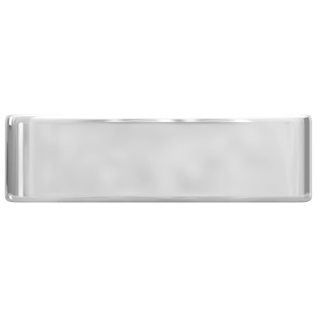 Chiuvetă cu orificiu robinet, argintiu, 48x37x13,5 cm, ceramică