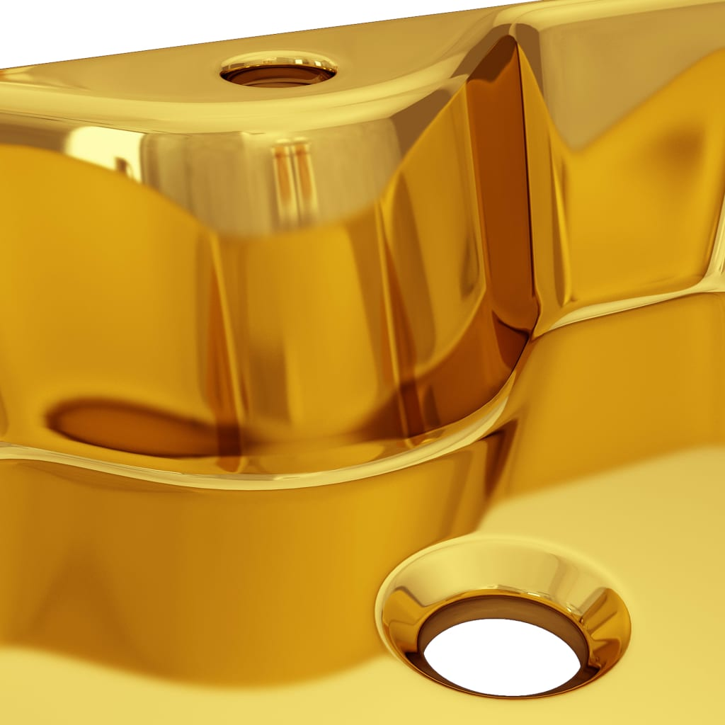 Chiuvetă cu orificiu de robinet, auriu, 48x37x13,5 cm, ceramică