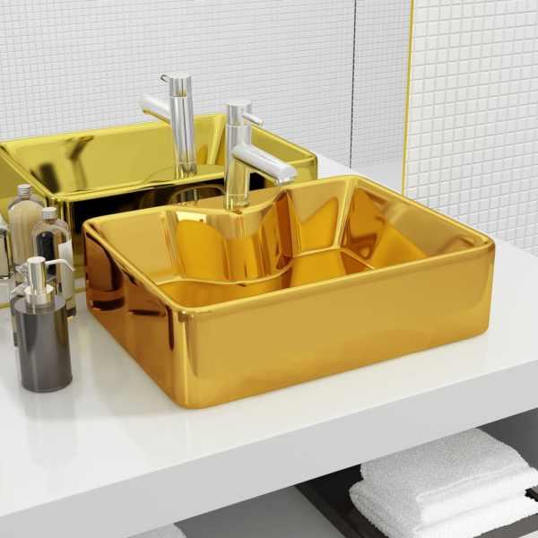 vidaXL Chiuvetă cu orificiu de robinet, auriu, 48x37x13,5 cm, ceramică