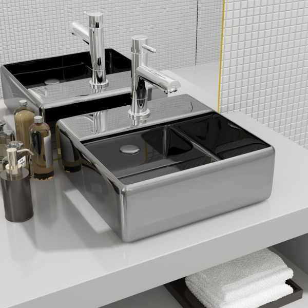 vidaXL Chiuvetă cu orificiu robinet argintiu 38x30x11,5 cm ceramică