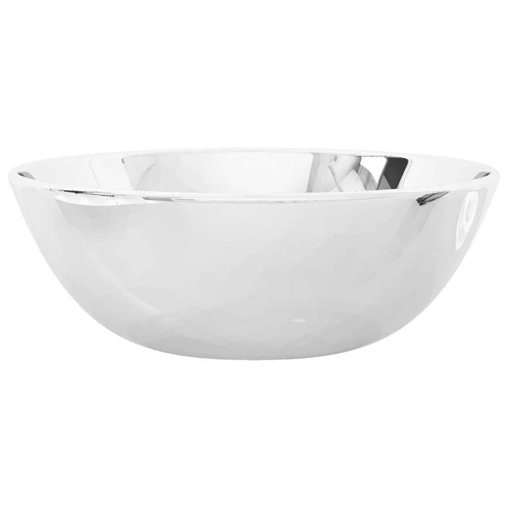 vidaXL Chiuvetă de baie, argintiu, 28 x 10 cm, ceramică