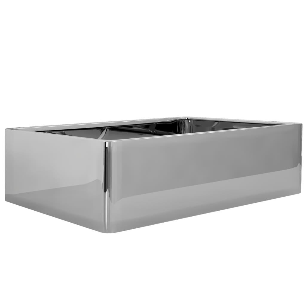 Chiuvetă de baie, argintiu, 41 x 30 x 12 cm, ceramică