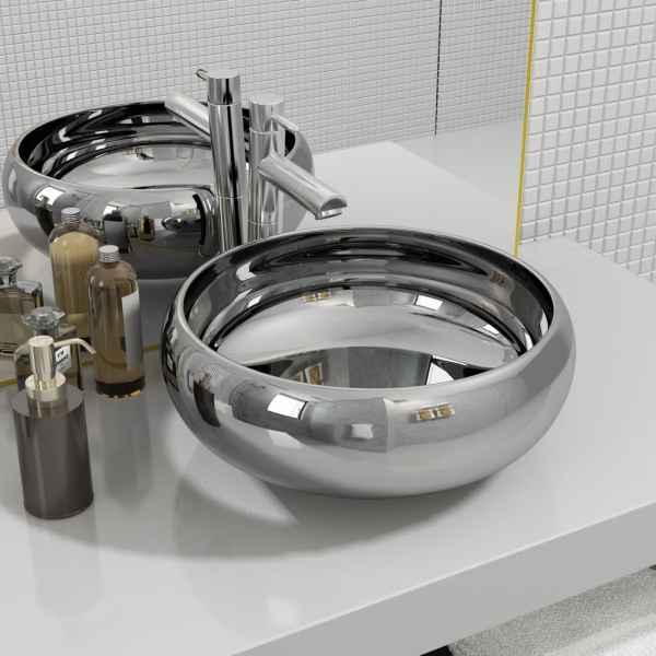 vidaXL Chiuvetă, argintiu, 40×15 cm, ceramică