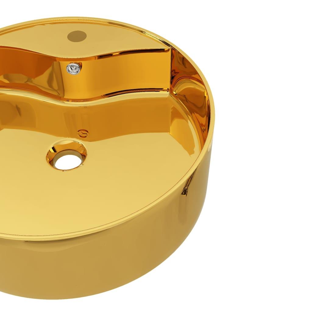 Chiuvetă cu preaplin, auriu, 46,5×15,5 cm, ceramică