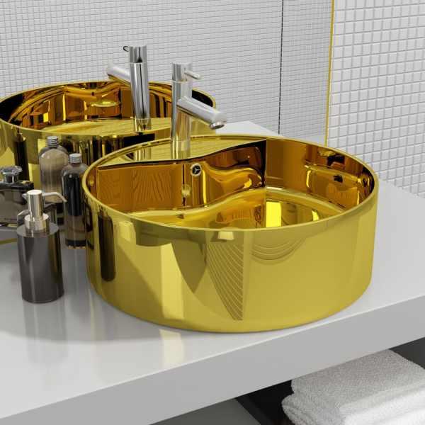 vidaXL Chiuvetă cu preaplin, auriu, 46,5×15,5 cm, ceramică