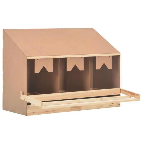 vidaXL Cuibar găin cu 3 compartimente, 93x40x65 cm, lemn masiv pin