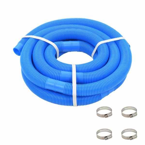 vidaXL Furtun de piscină cu cleme, albastru, 38 mm, 6 m