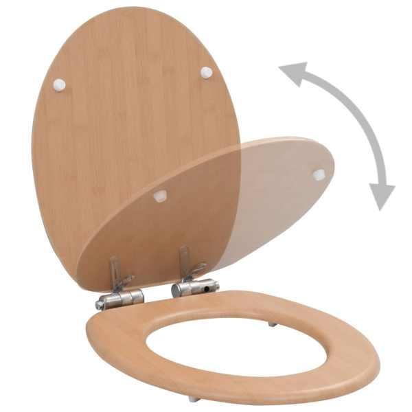 Capac WC cu închidere silențioasă, MDF, design bambus