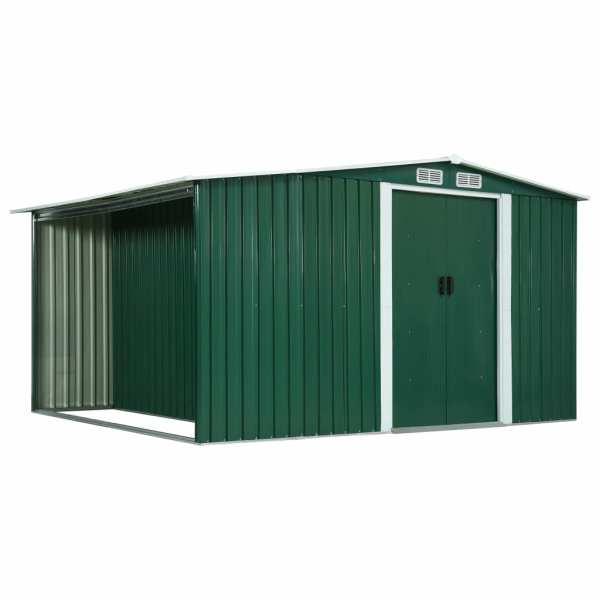 vidaXL Șopron de grădină cu uși glisante verde 329,5x259x178 cm oțel