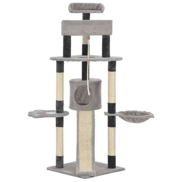 Ansamblu pentru pisici cu stâlpi din funie de sisal, gri, 145cm