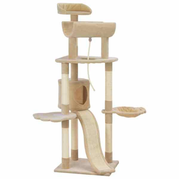 vidaXL Ansamblu pentru pisici cu stâlpi din funie de sisal, bej, 145cm