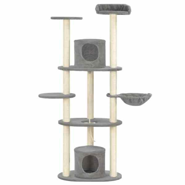 Ansamblu pentru pisici cu stâlpi din funie sisal, gri, 160 cm