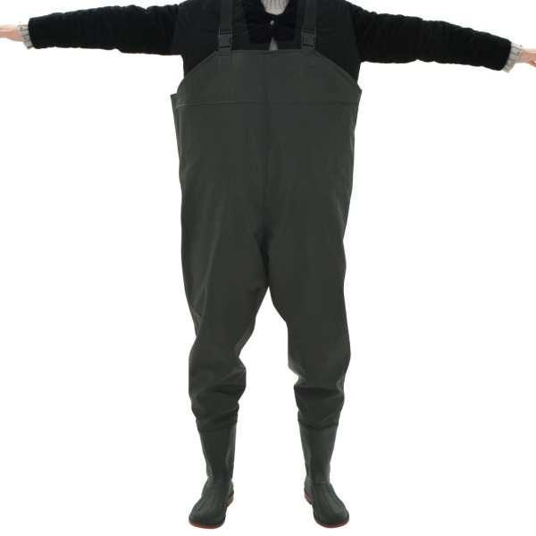 vidaXL Pantaloni de vânătoare cu cizme, verde, mărime 38