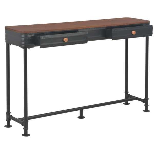 Masă consolă cu 2 sertare, 120 x 30 x 75 cm, lemn masiv de brad