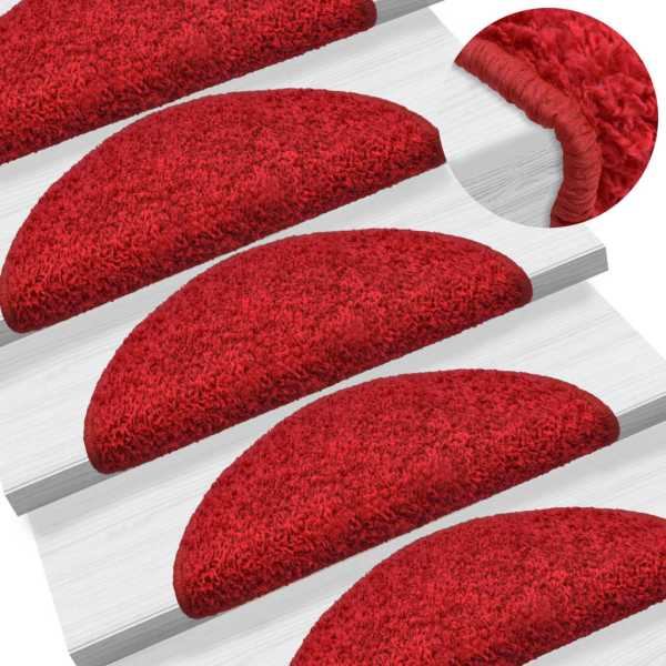 vidaXL Covorașe de scări, 15 buc., roșu, 65 x 25 cm