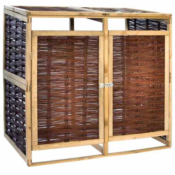 vidaXL Magazie de pubele dublă, lemn de pin și răchită