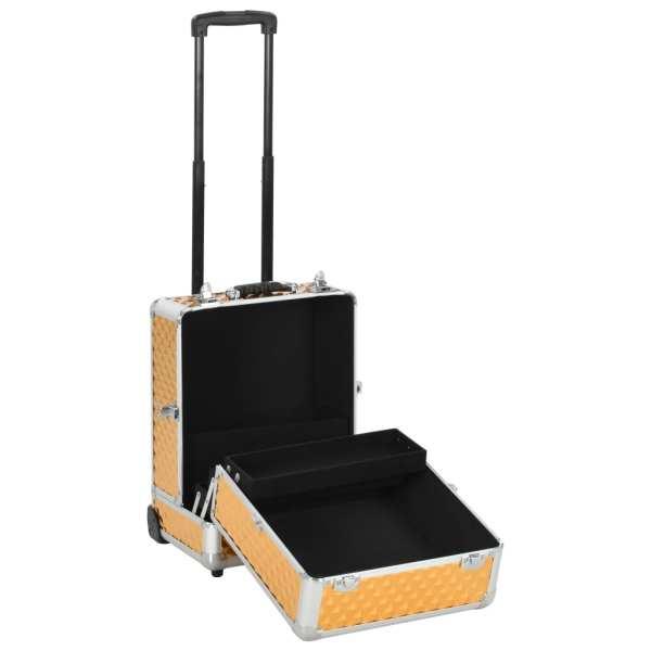 vidaXL Troler de cosmetice, auriu, 35 x 29 x 45 cm, aluminiu