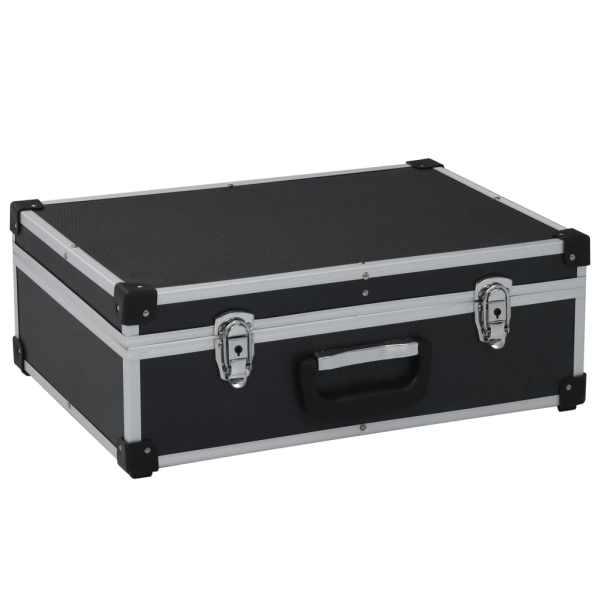 vidaXL Valiză de scule, negru, 46 x 33 x 16 cm, aluminiu