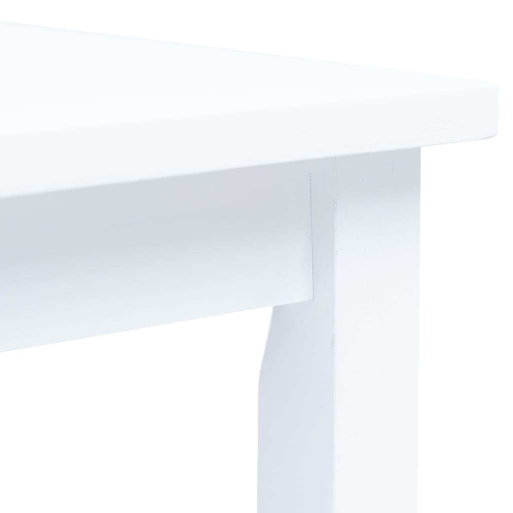 vidaXL Masă de bucătărie, alb, 114 x 71 x 75 cm, lemn masiv de hevea