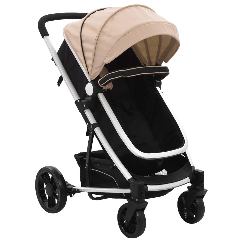 vidaXL Căruț/landou pentru copii 2-în-1, gri taupe și negru, aluminiu