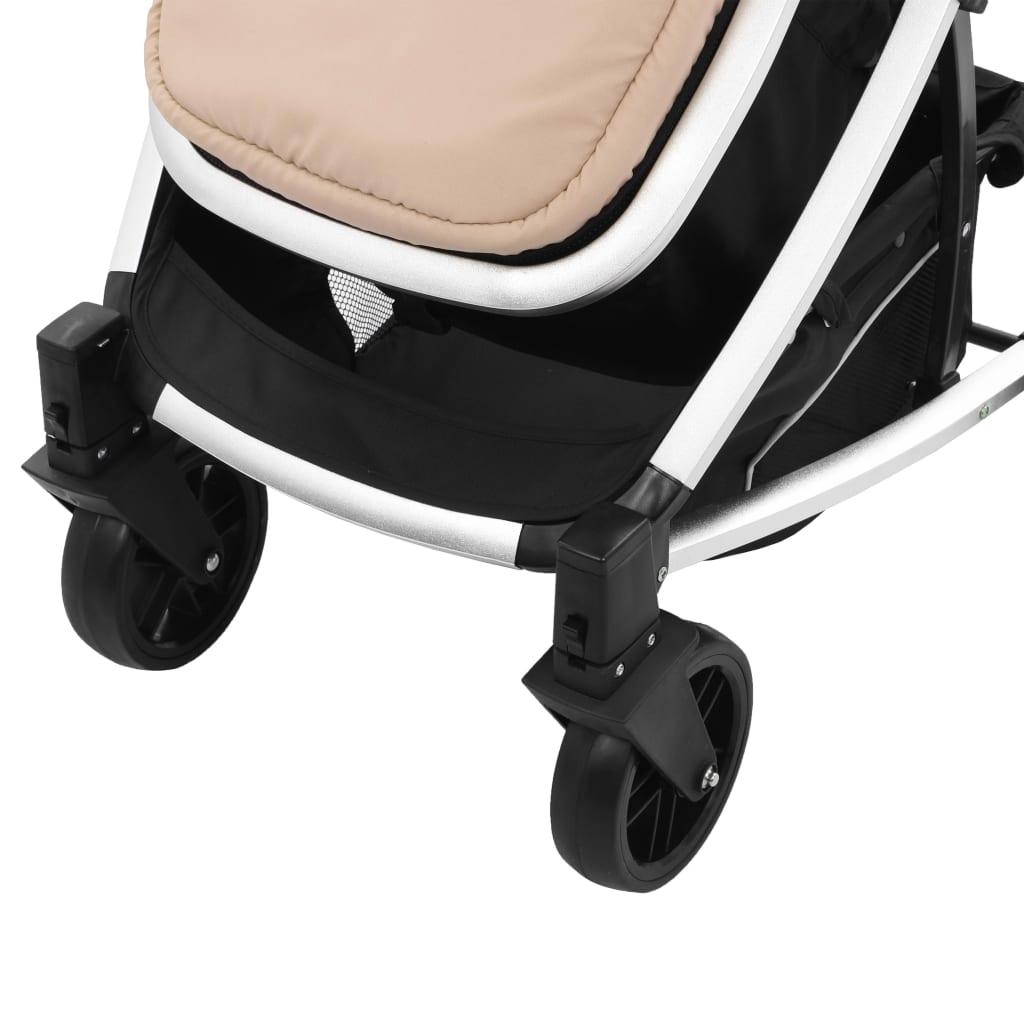 Căruț/landou pentru copii 2-în-1, gri taupe și negru, aluminiu