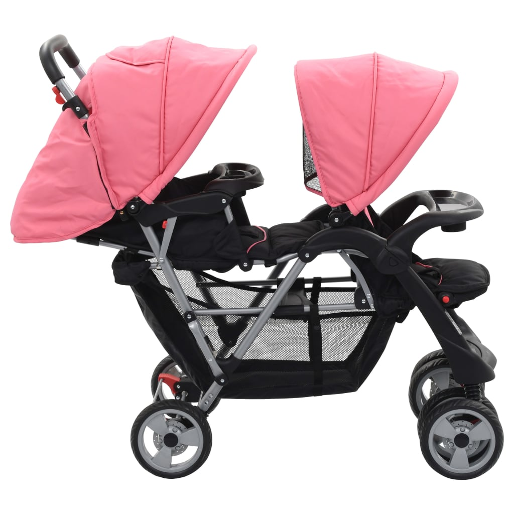 Cărucior tandem pentru copii, roz și negru, oțel