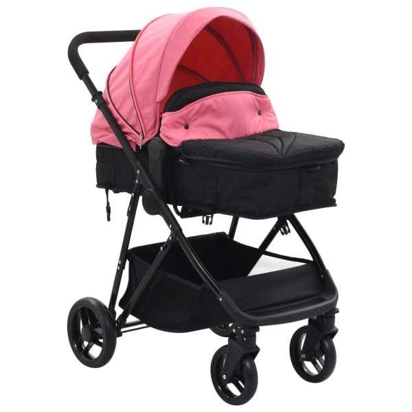 Căruț/landou pentru copii 2-în-1, roz și negru, oțel
