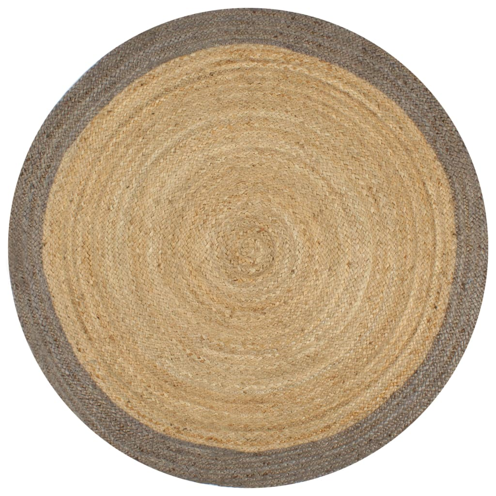 vidaXL Covor manual cu margine gri, 90 cm, iută