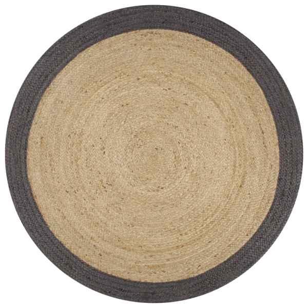 vidaXL Covor manual cu margine gri închis, 150 cm, iută