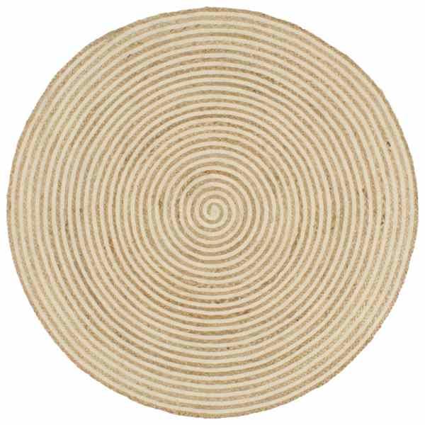 vidaXL Covor lucrat manual cu model spiralat, alb, 90 cm, iută